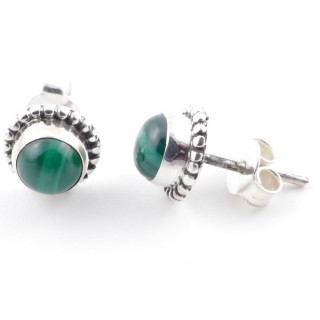58504-10 SILVER 925 7 MM POST EARRINGS WITH MALACHITE