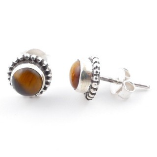 58504-11 SILVER 925 7 MM POST EARRINGS WITH TIGER'S EYE
