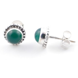 58504-16 SILVER 925 7 MM POST EARRINGS WITH GREEN AVENTURINE