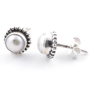 58504-20 SILVER 925 7 MM POST EARRINGS WITH PEARL