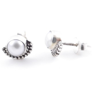 58505-20 SILVER 925 7 MM POST EARRINGS WITH PEARL