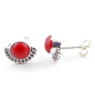 58505-17 SILVER 925 7 MM POST EARRINGS WITH SYNTHETIC CORAL