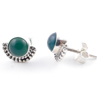 58505-16 SILVER 925 7 MM POST EARRINGS WITH GREEN AVENTURINE