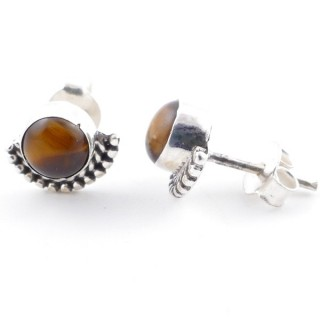 58505-11 SILVER 925 7 MM POST EARRINGS WITH TIGER'S EYE