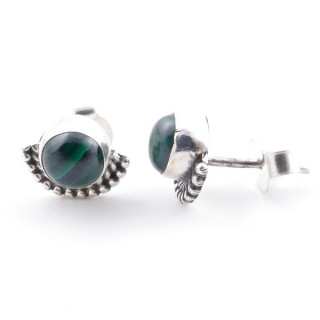 58505-10 SILVER 925 7 MM POST EARRINGS WITH MALACHITE