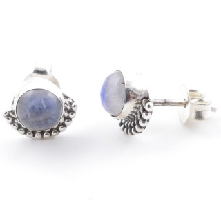 58505-05 SILVER 925 7 MM POST EARRINGS WITH MOONSTONE