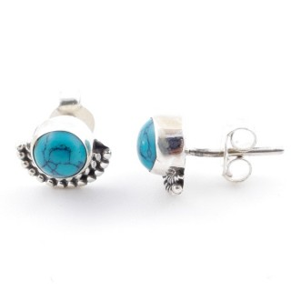58505-07 SILVER 925 7 MM POST EARRINGS WITH TURQUOISE