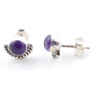 58505-06 SILVER 925 7 MM POST EARRINGS WITH AMETHYST