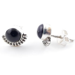 58505-04 SILVER 925 7 MM POST EARRINGS WITH ONYX
