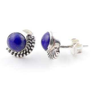58505-02 SILVER 925 7 MM POST EARRINGS WITH LAPIS LAZULI