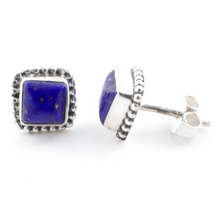 58506-02 SILVER 925 7.5 MM POST EARRINGS WITH LAPIS LAZULI