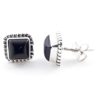 58506-04 SILVER 925 7.5 MM POST EARRINGS WITH ONYX