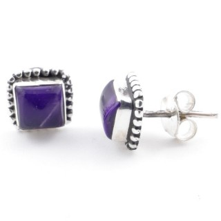 58506-06 SILVER 925 7.5 MM POST EARRINGS WITH AMETHYST