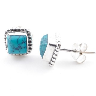 58506-07 SILVER 925 7.5 MM POST EARRINGS WITH TURQUOISE