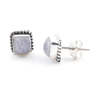 58506-05 SILVER 925 7.5 MM POST EARRINGS WITH MOONSTONE