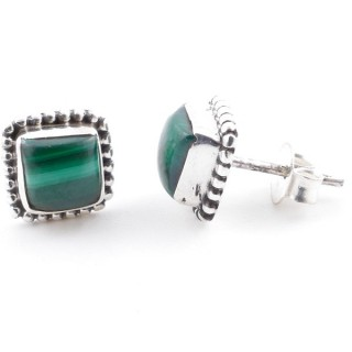 58506-10 SILVER 925 7.5 MM POST EARRINGS WITH MALACHITE