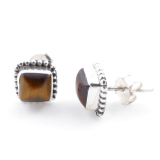 58506-11 SILVER 925 7.5 MM POST EARRINGS WITH TIGER'S EYE