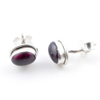 58507-19 SILVER 925 7 X 5 MM POST EARRINGS WITH GARNET