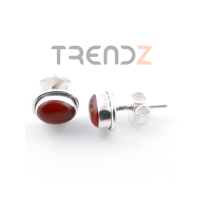 58507-18 SILVER 925 7 X 5 MM POST EARRINGS WITH CARNELIAN