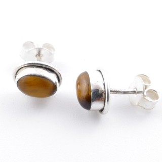 58507-11 SILVER 925 7 X 5 MM POST EARRINGS WITH TIGER'S EYE