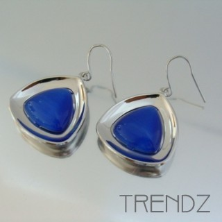 19366 CAT'S EYE RHODIUM PLATED FASHION EARRINGS