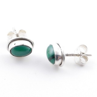 58507-10 SILVER 925 7 X 5 MM POST EARRINGS WITH MALACHITE