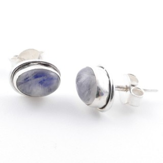 58507-05 SILVER 925 7 X 5 MM POST EARRINGS WITH MOONSTONE