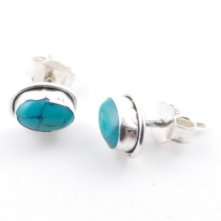 58507-07 SILVER 925 7 X 5 MM POST EARRINGS WITH TURQUOISE