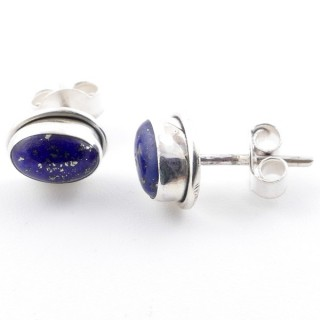 58507-02 SILVER 925 7 X 5 MM POST EARRINGS WITH LAPIS LAZULI