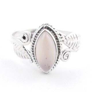58614-16 STERLING SILVER 13 X 8 MM RING WITH ROSE QUARTZ SIZE 16