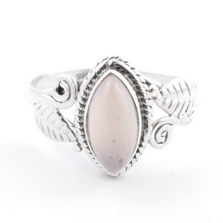 58614-17 STERLING SILVER 13 X 8 MM RING WITH ROSE QUARTZ SIZE 17