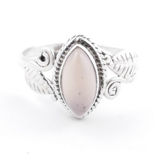 58614-18 STERLING SILVER 13 X 8 MM RING WITH ROSE QUARTZ SIZE 18