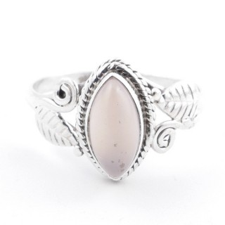 58614-19 STERLING SILVER 13 X 8 MM RING WITH ROSE QUARTZ SIZE 19