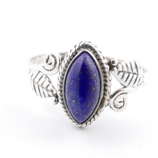 58615-18 STERLING SILVER 13 X 8 MM RING WITH LAPIS LAZULI SIZE 18