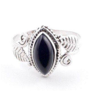 58616-16 STERLING SILVER 13 X 8 MM RING WITH ONYX SIZE 16