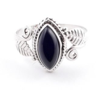 58616-18 STERLING SILVER 13 X 8 MM RING WITH ONYX SIZE 18
