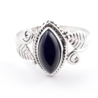 58616-19 STERLING SILVER 13 X 8 MM RING WITH ONYX SIZE 19