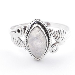 58617-16 STERLING SILVER 13 X 8 MM RING WITH MOONSTONE SIZE 16