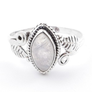 58617-17 STERLING SILVER 13 X 8 MM RING WITH MOONSTONE SIZE 17