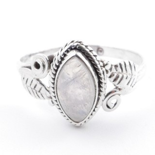 58617-18 STERLING SILVER 13 X 8 MM RING WITH MOONSTONE SIZE 18