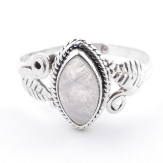 58617-19 STERLING SILVER 13 X 8 MM RING WITH MOONSTONE SIZE 19