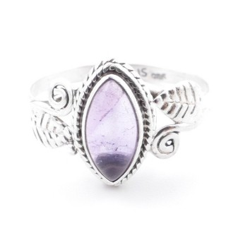 58618-16 STERLING SILVER 13 X 8 MM RING WITH AMETHYST SIZE 16