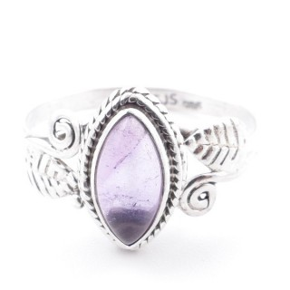 58618-17 STERLING SILVER 13 X 8 MM RING WITH AMETHYST SIZE 17