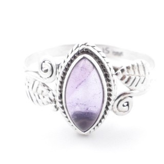 58618-18 STERLING SILVER 13 X 8 MM RING WITH AMETHYST SIZE 18
