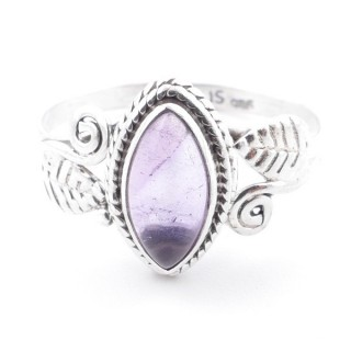 58618-19 STERLING SILVER 13 X 8 MM RING WITH AMETHYST SIZE 19