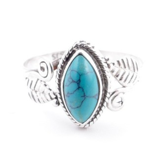 58619-16 STERLING SILVER 13 X 8 MM RING WITH TURQUOISE SIZE 16