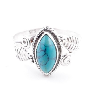 58619-18 STERLING SILVER 13 X 8 MM RING WITH TURQUOISE SIZE 18