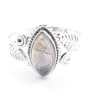 58620-16 STERLING SILVER 13 X 8 MM RING WITH LABRADORITE SIZE 16