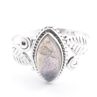 58620-17 STERLING SILVER 13 X 8 MM RING WITH LABRADORITE SIZE 17