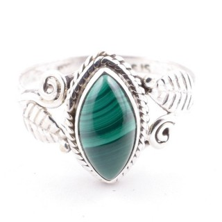 58621-18 STERLING SILVER 13 X 8 MM RING WITH MALACHITE SIZE 18